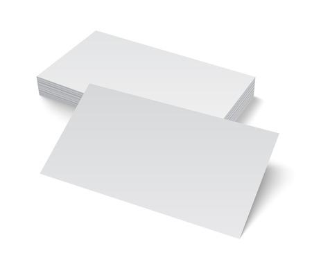 акцент: Стек пустой пустой визитной карточки на белом фоне с мягкими тенями. Векторная иллюстрация EPS10. Иллюстрация