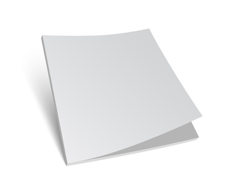 3D blank brochure cover. Realistic vector EPS10 illustration. White background.