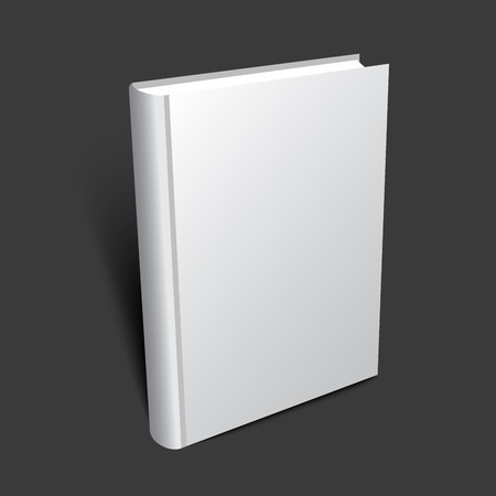 Standing 3d book illustration for cover design. Realistic vector mockup.