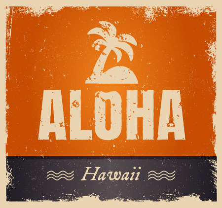 hawaii islands: Vector aloha word in retro colors, vintage background. Rough edges in grunge style. Island tropical icon with palm.