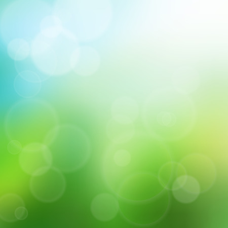 faded: Summer time bokeh background illustration. Glowing summer, blue sky and green grass.