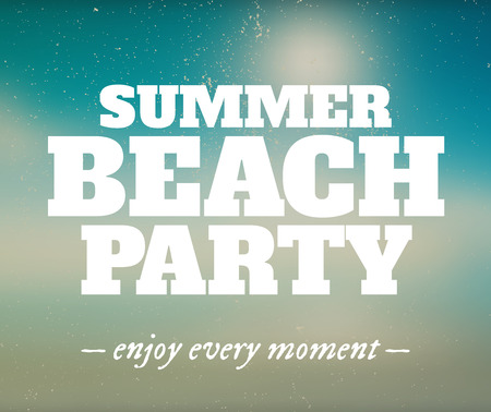 hot summer: Summer beach party poster with enjoy every moment. Summer hot retro vector background. Illustration