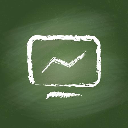 green chalkboard: Computer icon on green chalkboard. Realistic vector vintage illustration.
