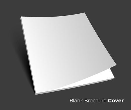 isolated  on white: 3D blank brochure cover. Realistic vector  illustration. Dark background.
