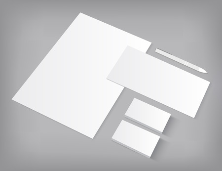 ci: Set of corporate identity templates mock-up. Vector  illustration on gray background.