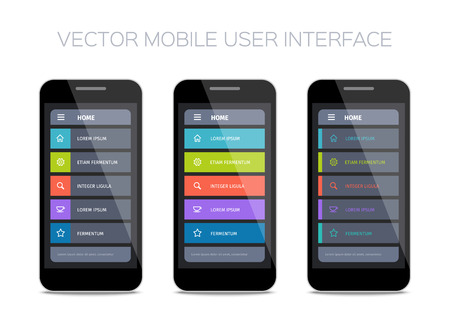 interface design: Vector mobile user interface design. Set of home pages.