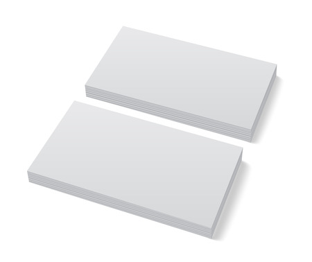 Two stacks of blank business cards on white background with soft shadows. Corporate identity presentation. Vector  illustration. Illustration