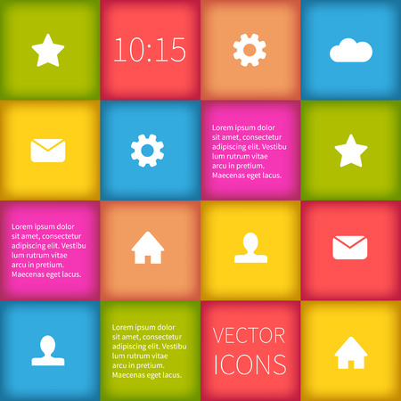 interface design: Colorful squared infographic or user interface design. Simple icons. Illustration