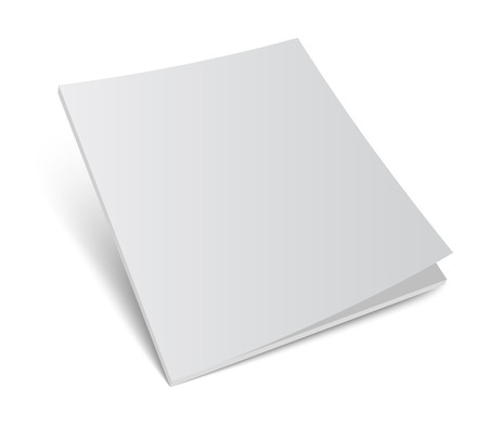 paper sheets: 3D blank magazine or brochure cover mockup. Realistic vector illustration for your design.