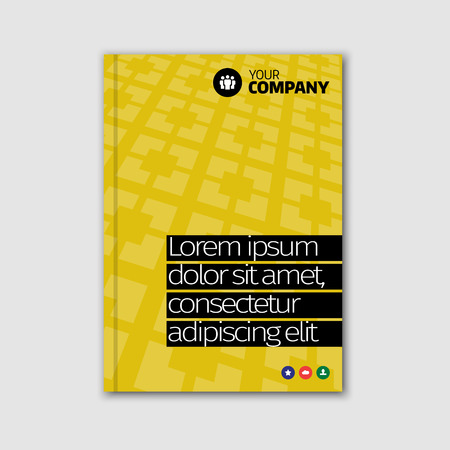book style: Brochure cover vector design template in A4 size. Textured pattern yellow abstract background with highlighted headline.
