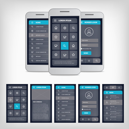 smartphones: Vector set of modern flat design. Template mobile user interface. EPS10 illustration. Mobile app ui kit. Illustration