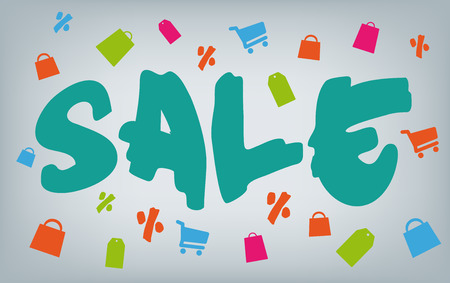 sale icons: Blue brush font sale with shopping icons. Carts and bags around the message. Vector illustration.