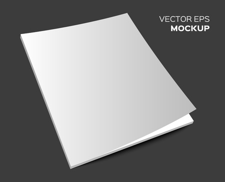 sheet of paper: Isolated blank brochure or magazine mockup on dark background. Vector EPS 10 illustration.