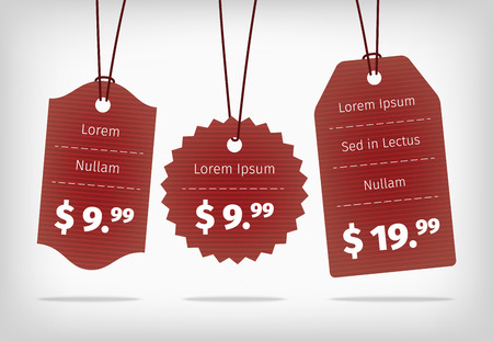 illustration collection: Red hanging cardboard pricing tags. Realistic vector EPS10 illustration. Collection of different shapes with texture.