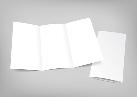 unfolded: Blank white folding paper flyer. Trifold mock up for brochure presentation. Vector illustration.