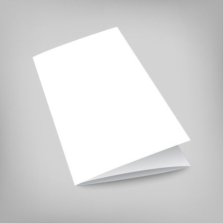 fold: Blank tri fold cover flyer on gray background. 3D illustration with soft shadows. Vector EPS10 illustration.