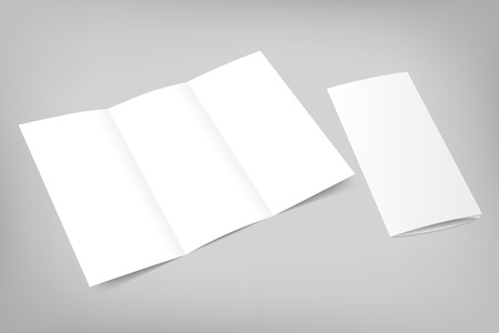 Blank tri fold flyer with cover on gray background. 3D illustration with soft shadows. Vector EPS10 illustration.
