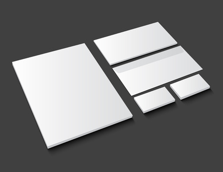 Corporate identity template stationery on dark background. Realistic vector EPS10 illustration with shadow.