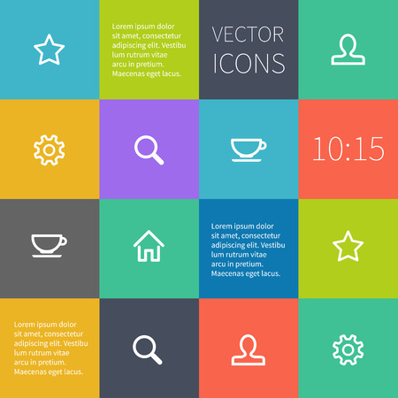 interface design: Colour square infographic or user interface design. Simple icons.