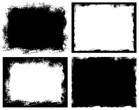 Set of grunge background. Broken dirty rough frames. Black and white editable vector ready to use.