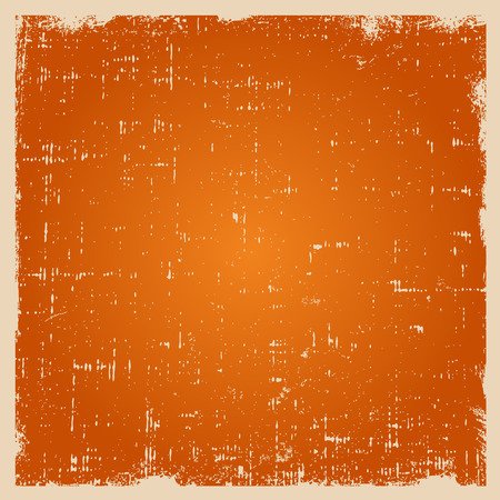 rough: Grunge vector texture with dust and rough edges. Orange gradient background with white border. Illustration