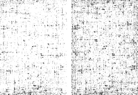 textile fabrics: Two dirt grunge texture ready to overlay any objects. Black and white vector illustration. Illustration