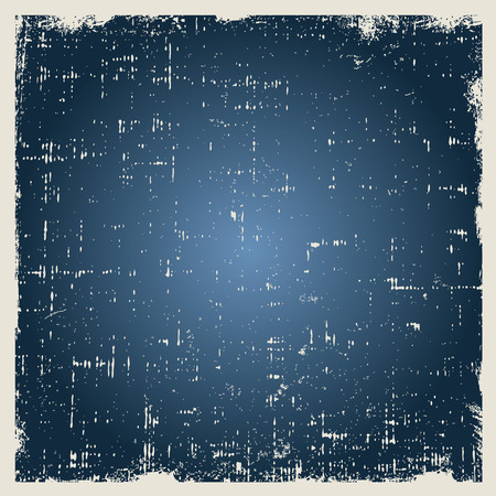 Grunge vector texture with dust and rough edges. Blue gradient background with white border.