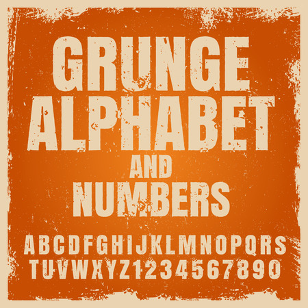 creative arts: Vector alphabet typography set isolated on white. Font with numbers.