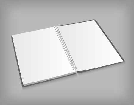 Vector opened blank spiral notebook on gray background with soft shadows. Realistic illustration.