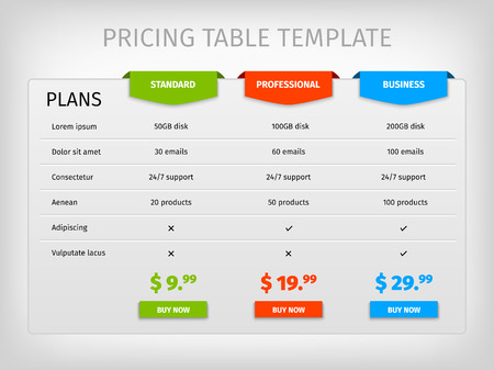tariff: Comparison of services. Web pricing table template for business plan. Vector   illustration. Colorful 3d chart.