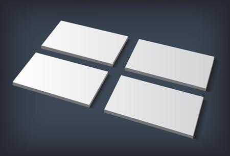 bran: Four blank piles business cards on dark blue background. Ready for bran or print presentation. Vector illustration. Illustration