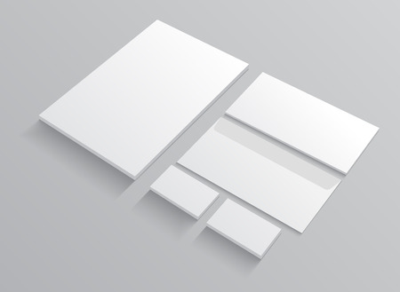 Set of corporate identity templates stationery mock up. Realistic vector   illustration on gray background with shadow.