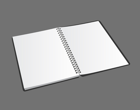 spiral notebook: Opened blank spiral notebook on gray background with soft shadows. Vector realistic illustration. Illustration