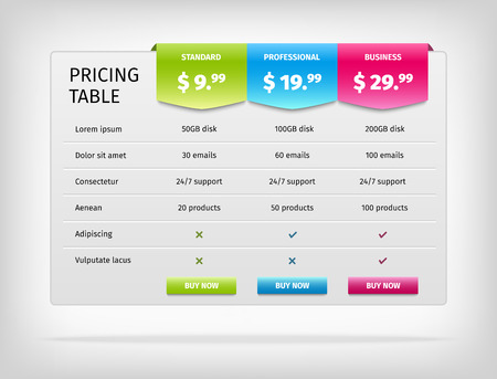 Pricing table template for business plan. Comparison chart.