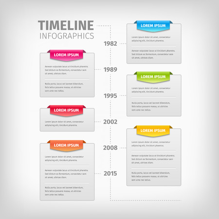 Timeline Infographics with soft gray boxes with border. Colorful 3d tags. Vector illustration.