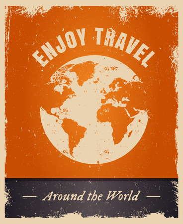 Vector grunge design with text Enjoy Travel. Vintage summer travelling   template with earth.