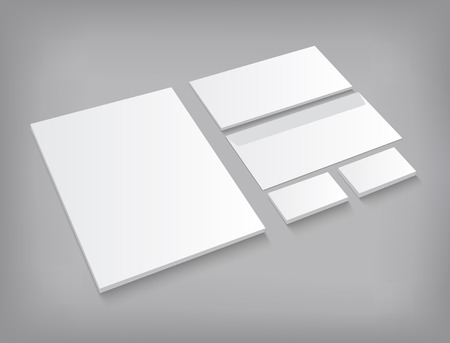 ci: Set of corporate identity templates stationery mock-up. Vector EPS10 illustration on gray background with shadow.