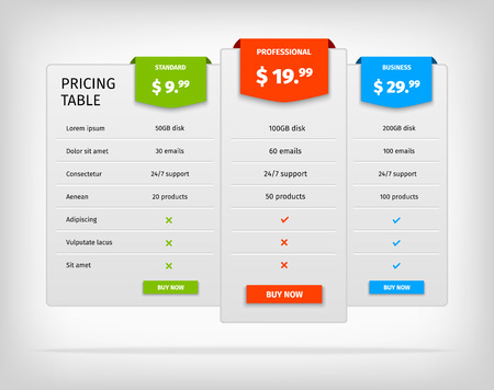 price: Pricing table template. Comparison chart for business. Vector EPS10 illustration. Colorful 3d chart.