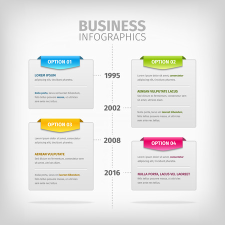 line chart: Business timeline Infographics with soft gray boxes with border. Colorful 3d tags. Vector illustration.