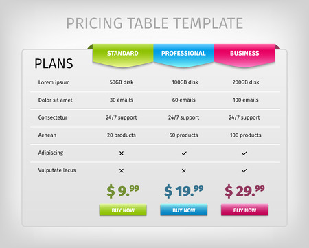 table: Web pricing table template for business plan. Comparison of services. Vector EPS10 illustration. Colorful 3d chart.