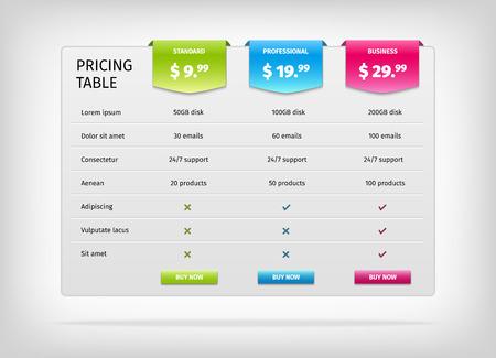 サービスの比較。ビジネス プランの価格表テンプレートを web します。ベクトル EPS10 イラスト。カラフルな 3 d グラフ。