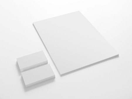 Business cards and a paper isolated on white. Stationery corporate identity template mock-up.