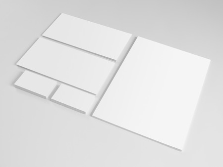 blank template: Set of branding elements on gray background with soft shadows Stock Photo