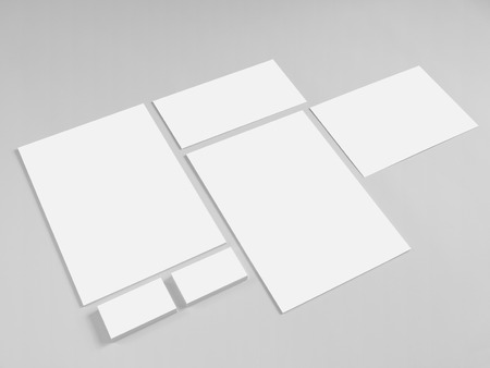 stationery: Collection of branding corporate design templates. Stationery with business cards and envelope. Stock Photo