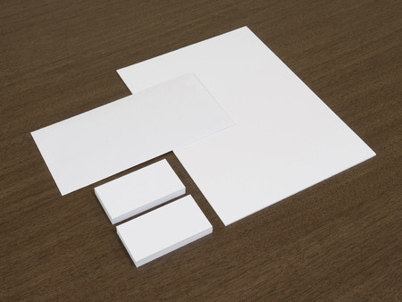 Set of branding corporate identity templates. Stationery with business cards. Stock Photo