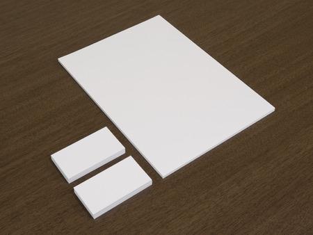 Leere Dokument Mit Visitenkarten Auf Schreibtisch Aus Holz