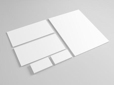 Lege sjabloon voor branding identiteit op een grijze achtergrond. Mock-up voor grafisch ontwerpers.