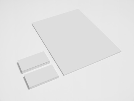 businesscard: Blank gray business cards with a pile of papers. Mockup on white background.