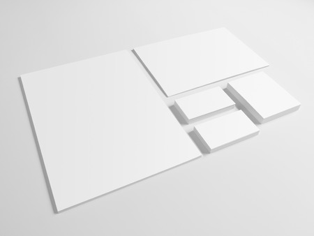 papel de notas: Envelopes business card folder isolated on gray background. Notepad and pile of documents.
