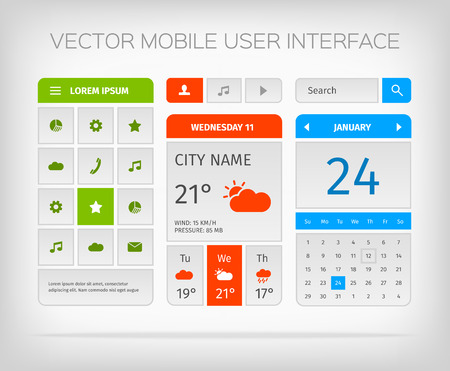 interface design: Set of mobile user interface, design and icons for app or web. Modern soul style. Illustration